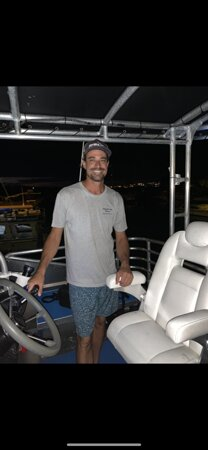 Dane-  our manager at the helm for a Blackwater dive in June 2021