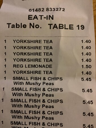 Food and drink order bill