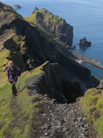 İzlanda: Westmann Islands cliff narrow walk looking down on white beach