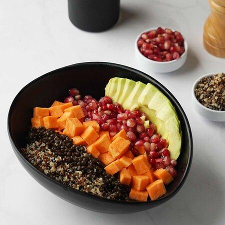 Power Bowl (Vegan, GF) Tri-Color Quinoa / Beluga Lentils / Sweet Potato / Avocado, Pomegranate / Coconut Yogurt / Dehulled Cannabis Seeds