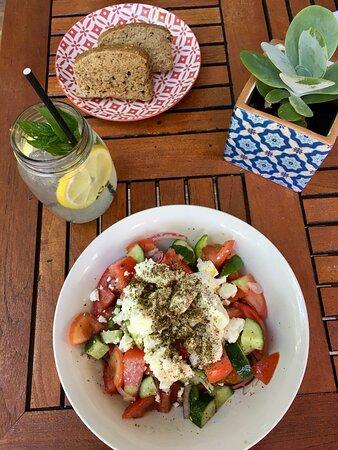 Greek salad and fresh homemade lemonade