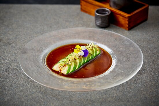 courgette tataki with cripy leek and dry miso