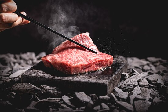 Certified Kobe beef on a 400 degrees celsius volcanic rock
