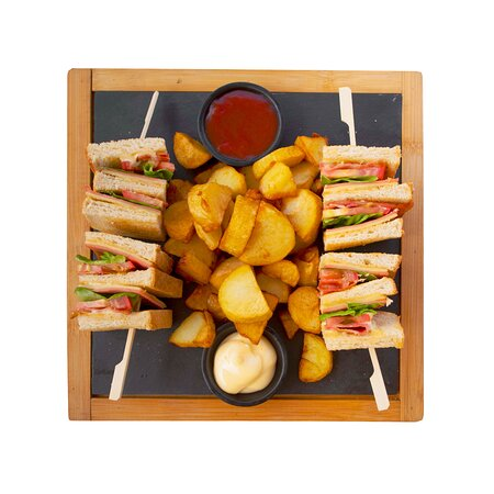 Ham or Τurkey club sandwich with lettuce, tomato, cheese, bacon, hand cut potatoes