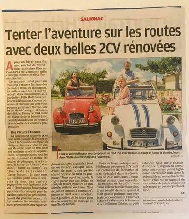 Les Belles Lurettes. Vue 5. Réf Journal La Provence Juin 2021. Location Cabriolet 2CV Revisité  2 Places et 2 CV Citroën, Bertille La Rouge et Fanny La Blanche 4 Places. Mariages ou Escapades. Salignac 04290.