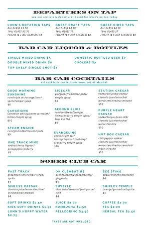 New Bar Menu July 1st
