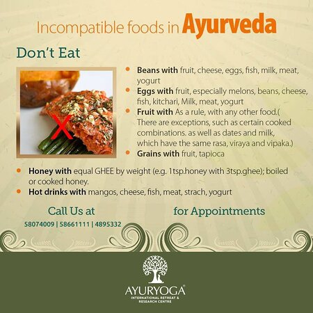 Ayurveda clearly defines certain diets and their combinations, which interrupt tissue metabolism, inhibit tissue formation, and have the opposite property to the tissue called Viruddha Anna or incompatible diet. The food which is wrong in combination, which has undergone wrong processing, which is consumed in incorrect dose, which is consumed in incorrect time of day and in the wrong season can lead to Viruddha Ahara