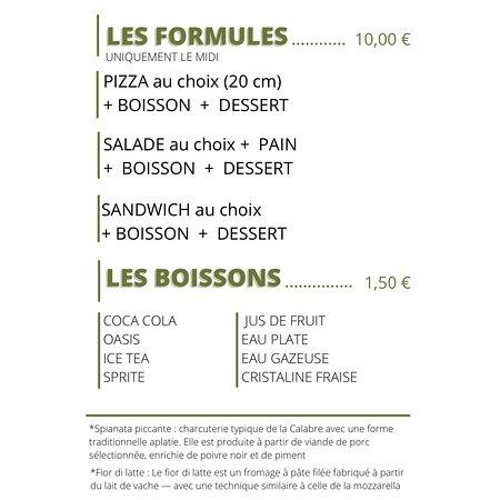 Les formules et boissons