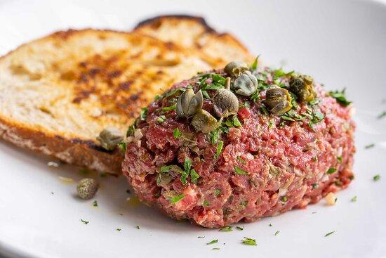 Steak tartare, toasted sourdough