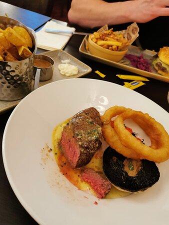 Bistro steak cooked medium rare