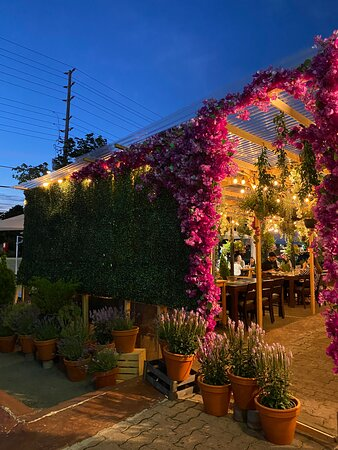 The cutest floral patio for outdoor KBBQ   MIga Korean BBQ Restaurant in Mississauga