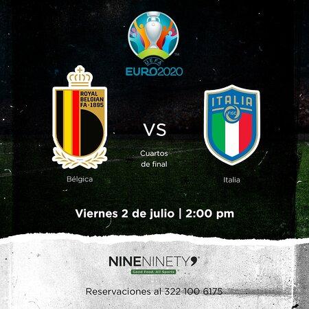 ¡Esto se va a poner bueno! 😎Vive toda la emoción de la Eurocopa 2020 con este partidazo en Nine Ninety 9. ⚽🏆🔥  #Bélgica 🆚 #Italia  📅 Viernes 2 de julio ⏰ 2:00 pm