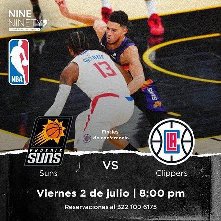 En Nine Ninety 9 tenemos el plan perfecto para este #viernes. 😎✌🏻 Que te parecería disfrutar de lo mejor de la NBA en la pantalla más grande de Puerto Vallarta. ¡Te esperamos! 🏀🔥  Phoenix Suns 🆚 L.A. Clippers  📅 Viernes 2 de julio ⏰ 8:00 pm  Reservaciones al 322 100 6175