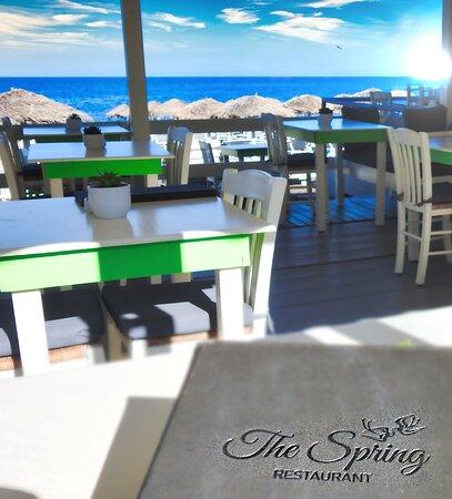 the restaurant Spring in Kamari beach Santorini
