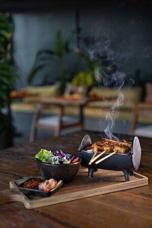 Prawn hot coal grill
