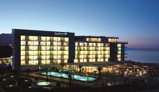 Exterior Hotel View Logo Evening