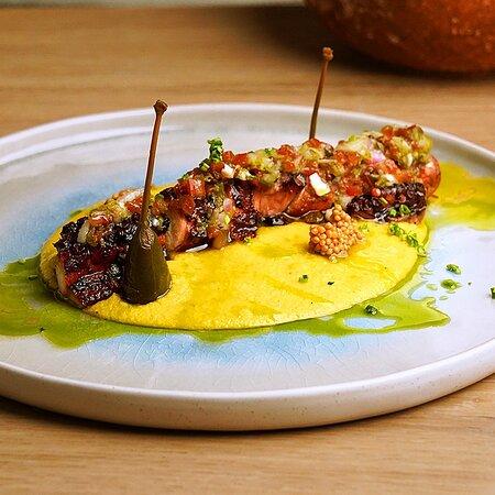 Octopus*  with Santorinian Fava Beans, Raisins Caponata, Oximeli and Rock Samphire salad
