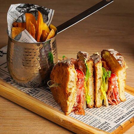 BLT      Sourdough Bread / Smocked Pancetta / Lettuce / Tomato / Parmesan / Mayonnaise