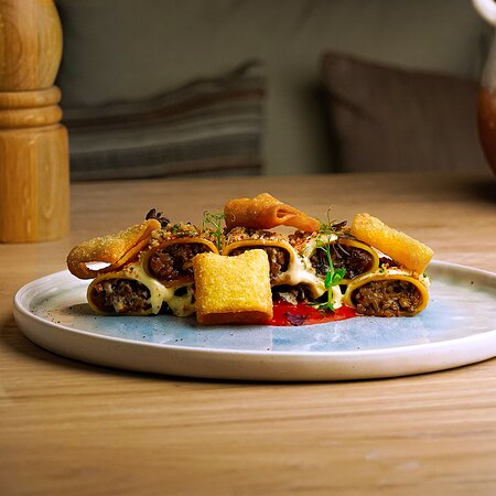 Vegan Pastichio  with Paccheri, Cauliflower, Mushrooms Ragout, Vegan cream and grated Walnut Miso