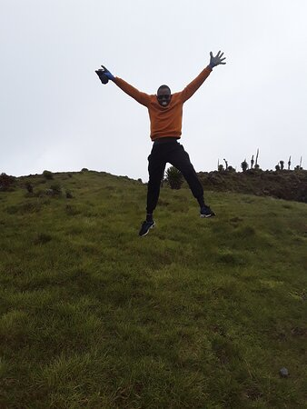 One of our traveler excited that he had made it on the top of the Mount Muhavura