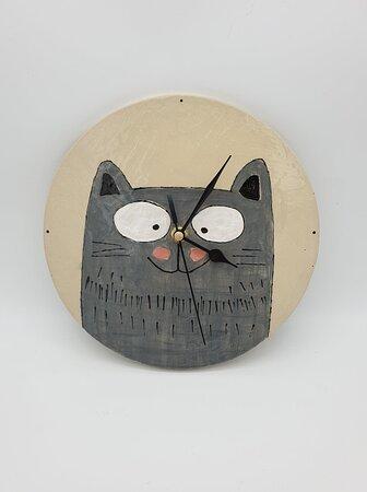 handmade ceramic cat clock