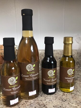 Jim Thorpe, PA: We decided on the flavors  Barrel Smoke Balsamic Vinegar Lemon Garlic EVOO Lemon Cucumber Balsamic Vinegar