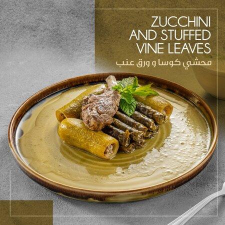Zucchini and Stuffed Vine Leaves
