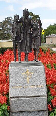 "Legacy Garden Of Appreciation. The sculpture ""Widow and Children""."