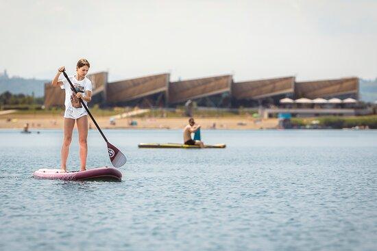 Murska Sobota, Slovenië: Test your balance on a sup board. Sobota Lake offers plenty of opportunities for recreation.