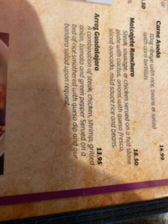 Arroz Guadalajara menu