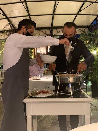 "preparing the famous ""Vittorio"" style Paccheri pasta"