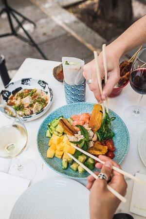 Platos con gastronomía de fusión asiática