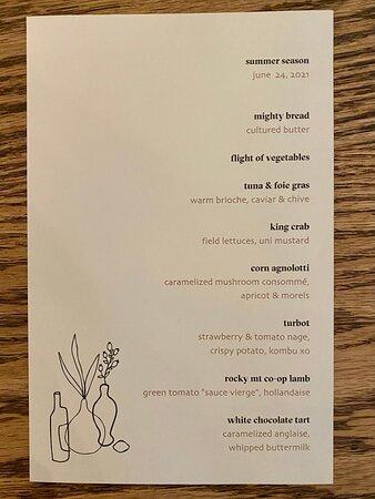 Summer tasting menu for June 24