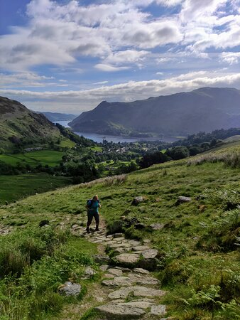 The first stage of the uphill hike is the steepest and offers spectacular views of Ullswater whenever you stop for a breather and turn around.