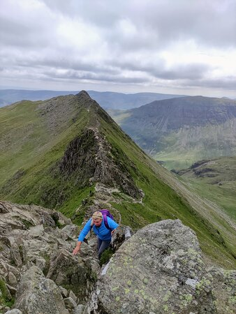 Striding Edge - even more of a scary scramble than I'd imagined! this was the last push up to the top!