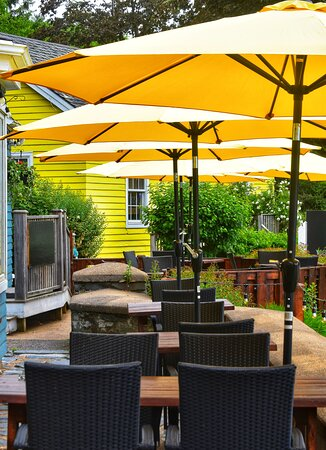 Enjoy a meal on our newly updated patio with views of the bay and three churches. Ample shade & space between tables.