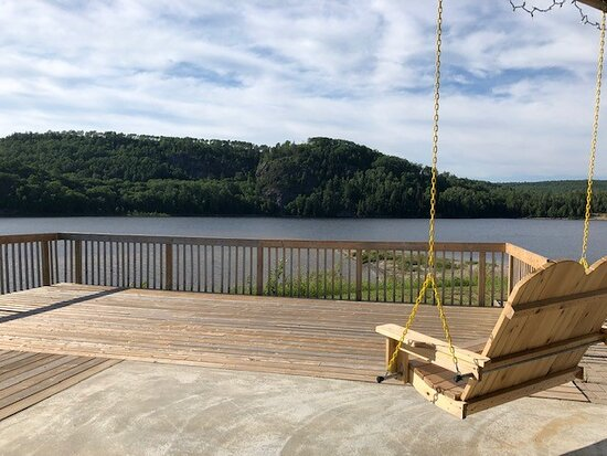 Deck overlooking the lake from the community gazebo