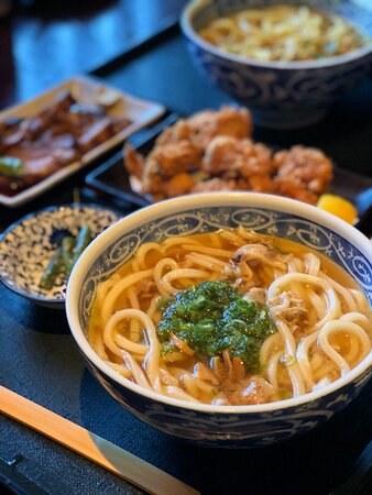 Kasu Udon , Japanese chicken karate, curry udon and Braised pork belly