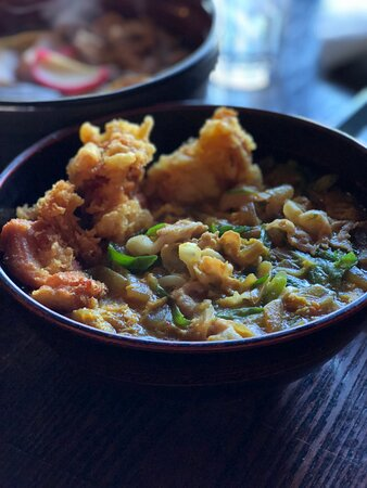 Curry udon with chicken tempura