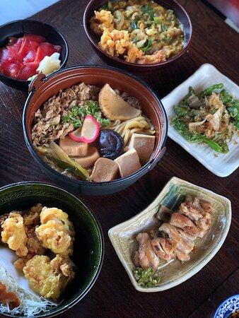 Sukiyaki Nabe udon with delicious appetizers