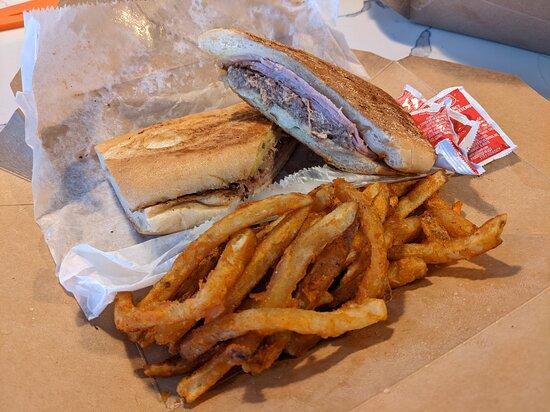 Cubano sandwich, empanadas, and Frita Cubana Burger