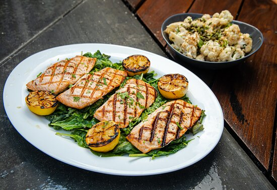 Grilled Salmon and Cauliflower