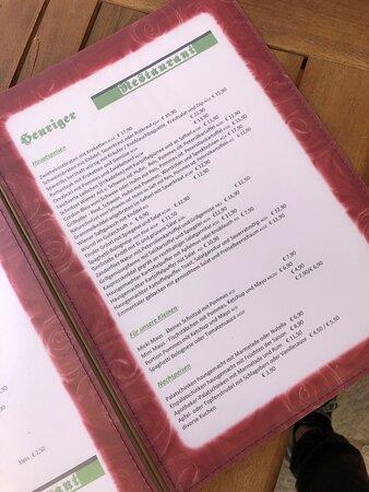 Speisekarte Heuriger Ellmau Restaurant