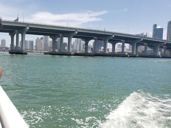 Miami Millionaire's Row Cruise: View of the Miami beach bridge into Biscayne Bay
