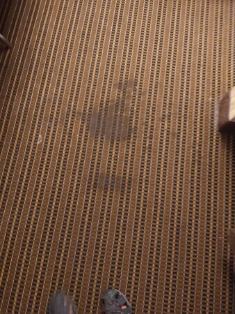 Large carpet stains in the room I was suppose to stay in.  You can see the tops of my feet to gauge the stain's size.
