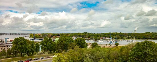 View on the Rostock city harbor