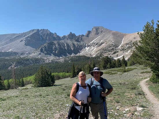 My wife and I in an Alpine meadow