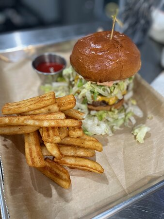 The Bait House Burger with our secretly seasoned fries