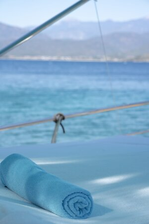 The boat is beautiful and the trip around the Fethiye peninsula was picturesque - the water is the most stunning shade of aqua you will ever see.