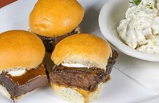 Today Saturday, July 3rd The grill will be open 2 PM to 7 PM the bar will be open 9 PM or later? Short ribs sliders with your choice of side!